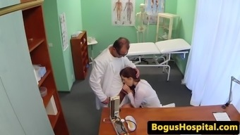 Nurse sucks physicians penis before pussy fucking