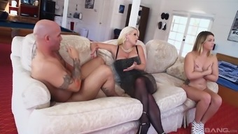 Naughty stud gets to fuck Alura Jenson and her good friend simultaneously