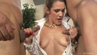Kinky Samia Duarte grows to fiddle with two different dicks concurrently
