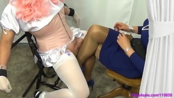 Girlie man Pantyhose Milking