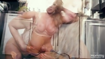 Gigantic big tits milf Farrah Dahl comes in jeans of their action offspring and offers him an excellent blowjob