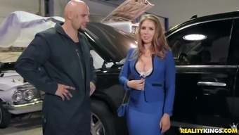 lena slavik shows off her big organic titties among the mechanic store