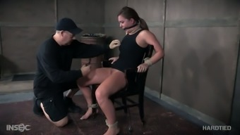 Hogtied submissive slut Maddy Oreilly gets her nipples fixed hard