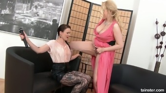 Sexually grabbing lesbian Succor Style is toying and thrashing exciting pussy