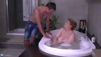 Very big mother fucks lucky son after bath