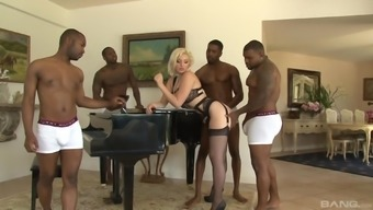 Blonde slut in lingerie Jenna Ivory gang banged and cum covered