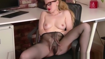 Office babe in nylon pantyhose fucks toy