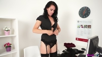 Ardent buxom raven haired secretary Jasmine Lau is happy to tickle her clit