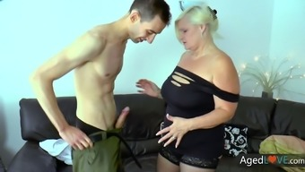 Horny old slut Lacey Starr seduces a pool guy and then she sucks his dick