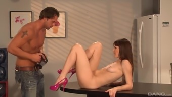 Anal pounding in the kitchen with long haired brunette Bobbi Starr