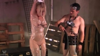 Blond docile slave date gets tied up and rolled up in plastic