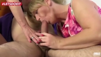 Letsdoeit mature german babes share cock in mmf threesome