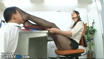 Japanese pantyhose foot fetish with long legs beauty