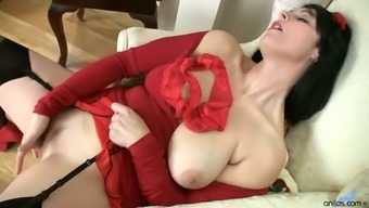 Dark haired whore in red stuff Raven wanna pet her own meaty cunt