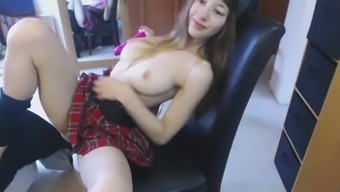Cute HighSchool Teen Plays in Dads Room