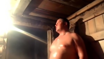 Naked chubby gays in a sauna are waiting for a call boy