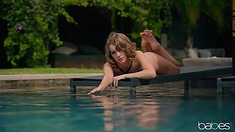 Sunbathing wife Kimmy Granger gets turned on and seduces a pool cleaner
