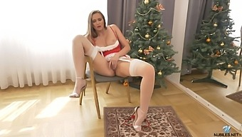 Alone cutie in nylon tights and cute red dress goes solo during Xmas