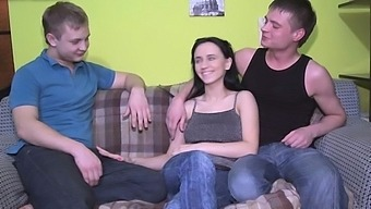 Divine brunette girlie Paige with big natural tits bangs