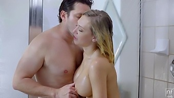 Things are wet and slippery during shower sex with Kagney Linn Karter