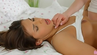 Gorgeous Adel Morel gets her tight pussy pleased by Angela Allison