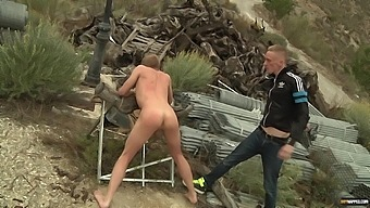 Tied up gay guy moans while getting his tight butt fucked outdoors