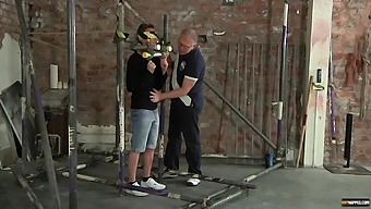 Naughty gay dude gets tied up before a friend jerked him off