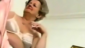 Old Granny  Striping off Her  Lingerie  and  Playing