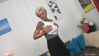 Naughty granny Nikola drops her panties to ride a younger lover