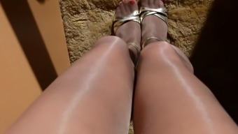 Upskirt Pussy in Reflective Nude Pantyhose