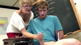 Shorthaired blonde gilf tutor strokes his very difficult elevate