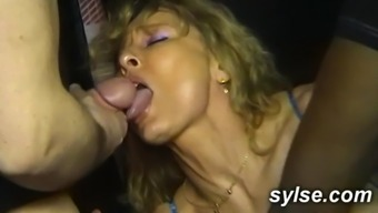 three(3) MILFs describing anus orgy in store with clients