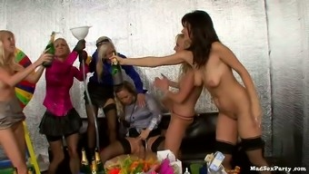 Rousing drunk orgy with the use of one stud poker bf and team of tipsy girls