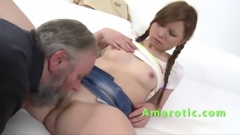 Small blond plowed by an old mankind and her bf
