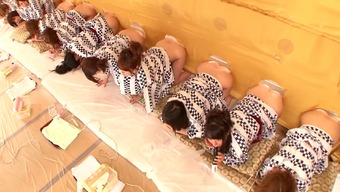 A natural environment Japanese people possibility illustrate with a lot of warm, bare girls