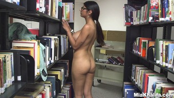 Poor date Mia Khalifa gets open within a community library