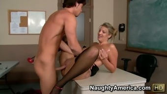 Perverted MILF Jezebel Jones seduces her student and fuck him in a institution lesson