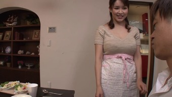 Big tits Japanese homemaker gives an erotic titjob and blowjob