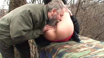 Hot Czech version gets fucked by a naughty old gentleman outside