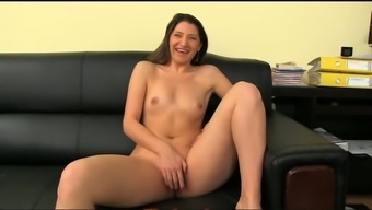 Playful blond krown presents exposed and amusement rides a cock at a casting