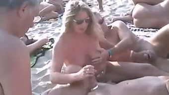 Just a sweet nudist seashore mixture of attractive spouses