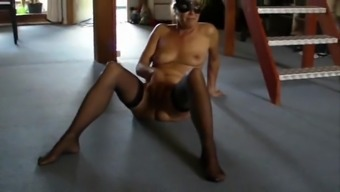 Hairy Blonde female In Stockings at home