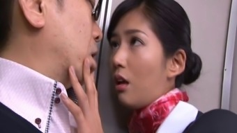 Very succulent Japanese people stewardess gets lost extreme despite the fact that on the ship