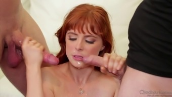 Guy shares his sizzling redheaded partner along with good friend