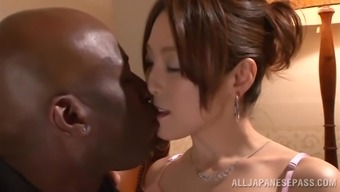 Japanese people hussy gets her pussy touched and torn by a black hunk