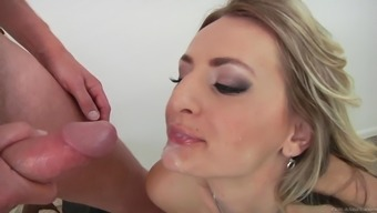 Charming milf along with genuine tits swallows semen after getting crushed amazing anus