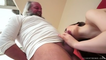 Sexy youthful skank kissing wrinkled old junk in wild porn video files