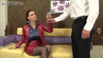 Astonishing MILF with the use of moist oiled out tits gets twofold used