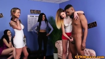 Uk cfnm sluts wanking group of cocks