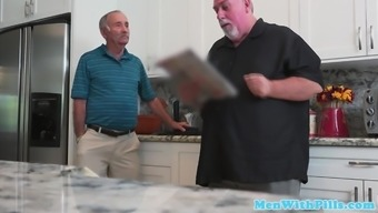Realistic grandpa rimmed cocksucked by accompany youngster